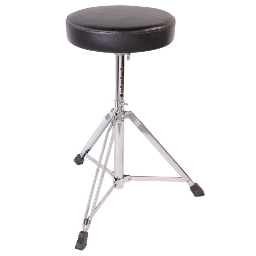 "22mm and 19mm diameter steel tubing. Double braced adjustable (5 pre-set heights) stool with 9.5"""" diameter, 2"""" padded seat."