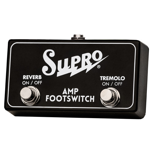 <p>In stock and ready to ship at MorMusic</p><p>Seen it cheaper elsewhere? We'll aim to match or beat any like for like price!</p><p>SUPRO DUAL FOOTSWITCH TREMOLO &amp; REVERB ON/OFF REMOTE</p> <p><span>Two button TRS footswitch for use with Supro Models that include both Reverb and Tremolo.</span><br /><br /><span>Use with:</span><br /><span>1622RT Tremo-Verb </span><br /><span>1642RT Titan</span><br /><span>1668RT Jupiter&nbsp;</span><br /><span>1648RT Saturn</span><br /><span>1675RT Rhythm Master&nbsp;</span><br /><span>1650RT Royal Reverb</span></p>