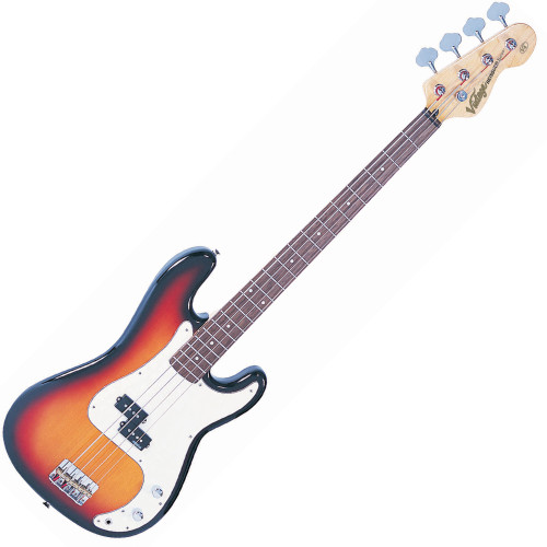 """<p>In stock and ready to ship at MorMusic</p><p>Seen it cheaper elsewhere? We'll aim to match or beat any like for like price!</p><p>VINTAGE BASS GUITAR- SUNBURST</p> <p><span>Distinct, Adaptable, Melodic. Their classic 'split coil' pickup design, powered by Alnico V magnets for maximum low end tone, is very much in keeping with the authentic looks and feel of this style of versatile and capable bass guitar.</span><br /><br /><span>The heart of a good bass sound lies with the string anchoring, and the V4's bridge makes sure that's the way it stays. Face mounted and fully adjustable, the rear loaded strings pass over the V4's chunky brass bridge saddles for maximum bottom end tone.</span></p> <p class=""""related-similar"""">VINTAGE V4 BASS FEATURES:</p> <ul> <li>Body: Eastern Poplar</li> <li>Neck: Hard Maple / Bolt On</li> <li>Scale: 34""""/864mm</li> <li>Frets: 20</li> <li>Neck Inlays: Pearloid Dot</li> <li>Tuners: Wilkinson WJBL200</li> <li>Bridge: Adjustable</li> <li>Pickups: Wilkinson? PB x 1 (M) WPB</li> <li>Hardware: Nickel (on Modern Relic), Chrome (on the rest of the series)</li> <li>Controls: 1 x Volume/ 1 x Tone</li> </ul>"""