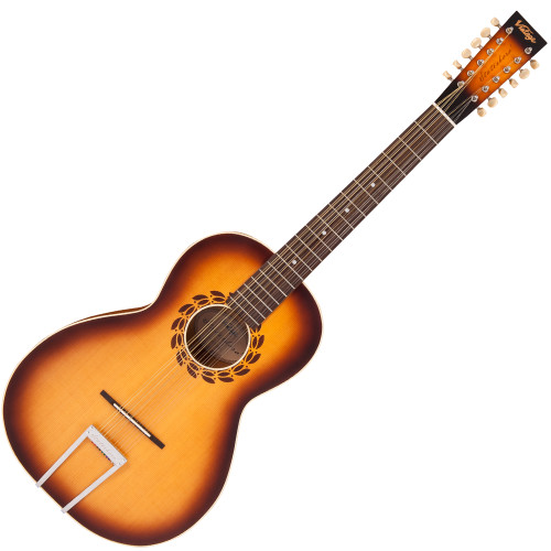 """<p>In stock and ready to ship at MorMusic</p> <p>Seen it cheaper elsewhere? We'll aim to match or beat any like for like price!</p> <p>VINTAGE STATESBORO 12 STRING GUITAR &amp; CASE BY PAUL BRETT</p> <p>Designed by 12-string guitarist and vintage guitar expert Paul Brett as a fitting tribute to the pioneering blues era of the 1930's and in particular, the legendary Blind Willie McTell, the Vintage V5000SB-12 Statesboro&rsquo; oozes pure nostalgia from every pore. Featuring a solid spruce top, with maple back and mahogany sides elegantly mated to a mahogany neck with rosewood fingerboard, the Statesboro&rsquo;s rosewood bridge with bone saddle and bone nut provides excellent intonation and tone, with plenty of volume. &ldquo;Using the designs of the legendary Stella guitars crafted by Oscar Schmidt in the early 20th century,&rdquo; says Paul &ldquo;Vintage and I have created a homage to the iconic model that Willie himself played. Obviously we have updated various elements to morph into todays market, but in essence, it looks like and certainly sounds like a big blues machine of that era.&rdquo; Available in both acoustic (V5000SB-12) and electro-acoustic models (VE5000SB-12 - with the addition of a Fishman PRO-REP-102 Rare Earth Humbucker soundhole pickup system) the Statesboro&rsquo; is ideal for traditional blues pickers and is also able to handle many other styles and tunings, depending on string gauges. Supplied with Kinsman Hardshell case.</p> <div class=""""issuuembed issuu-isrendered"""" data-configid=""""1298782/44511630"""">&nbsp;</div>"""