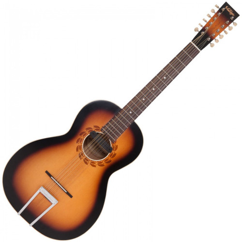 """<p>In stock and ready to ship at MorMusic</p> <p>Seen it cheaper elsewhere? We'll aim to match or beat any like for like price!</p> <p>VINTAGE ELECTRO STATESBORO 12 STRING GUITAR &amp; CASE BY PAUL BRETT</p> <p><span>Designed by 12-string guitarist and vintage guitar expert Paul Brett as a fitting tribute to the pioneering blues era of the 1930's and in particular, the legendary&nbsp;</span><strong>Blind Willie McTell</strong><span>, the Vintage V5000SB-12 Statesboro&rsquo; oozes pure nostalgia from every pore. Featuring a solid spruce top, with maple back and mahogany sides elegantly mated to a mahogany neck with rosewood fingerboard, the Statesboro&rsquo;s rosewood bridge with bone saddle and bone nut provides excellent intonation and tone, with plenty of volume.&nbsp;</span><br /><br /><span>&ldquo;Using the designs of the legendary Stella guitars crafted by Oscar Schmidt in the early 20th century,&rdquo; says Paul &ldquo;Vintage and I have created a homage to the iconic model that Willie himself played. Obviously we have updated various elements to morph into todays market, but in essence, it looks like and certainly sounds like a big blues machine of that era.&rdquo; Available in both acoustic (V5000SB-12) and electro-acoustic models (VE5000SB-12 &ndash; with the addition of a Fishman PRO-REP-102 Rare Earth Humbucker soundhole pickup system) the Statesboro&rsquo; is ideal for traditional blues pickers and is also able to handle many other styles and tunings, depending on string gauges. Supplied with Kinsman Hardshell case.</span></p> <table id=""""product-attribute-specs-table"""" class=""""data-table""""> <tbody> <tr class=""""first odd""""><th class=""""label"""">Colour</th> <td class=""""data last"""">Satin Antique Burst</td> </tr> <tr class=""""even""""><th class=""""label"""">Body</th> <td class=""""data last"""">Solid Spruce</td> </tr> <tr class=""""odd""""><th class=""""label"""">Back</th> <td class=""""data last"""">Maple</td> </tr> <tr class=""""even""""><th class=""""label"""">Sides</th> <td class=""""data last"""">Mahogany</td> </tr"""