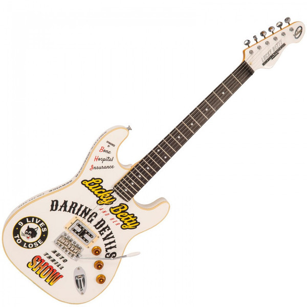 <p>In stock and ready to ship at MorMusic</p> <p>Seen it cheaper elsewhere? We'll aim to match or beat any like for like price!</p> <p><span>&lsquo;Lucky Betty&rsquo; owned by Betty La Foy</span><br /><br /><span>Starting out in the summer of 1959 from Porter, Indiana, &lsquo;Lucky&rsquo; Betty La Foy and her all female stunt crew took their daredevil show across America, driving jalopies through rings of fire, jumping motorbikes over school buses and escaping certain death many times over. And if that wasn&rsquo;t dangerous enough, Betty&rsquo;s pi&eacute;ce de r&eacute;sistance was to ride the Wall of Death on a modified ex &ldquo;Wrecking Crew&rsquo; Indian Scout motorbike while playing rock n roll hits on her custom made electric guitar. Betty had a red version for week day shows, and a white one for Sunday best.</span><br /><br /><span>After 40 years of dropping the jaws of audiences worldwide and without ever having a single stunt go wrong, Betty decided to quit before her luck ran out. She currently lives a quieter life on the Florida Keys with her devoted husband, Big Al. At 79 she still drives her hot rodded 1934 Ford Model 40 V8 Coupe every day and is the oldest Floridian resident ever to receive a speeding ticket, shooting 73 mph in a 50 zone.</span><br /><br /><span>Body: Double-cut, super resonant American Alder body with custom &ldquo;Lucky Betty&rdquo; graphics and go faster binding. A Red version for the weekday and a White one for Sunday best.</span><br /><br /><span>Bridge: The Wilkinson WVC Vibrato bridge enabled Betty to pull off her signature &lsquo;changing gears&rsquo; trick and come back in tune every time. What are you gonna do with yours?</span><br /><br /><span>Pickups: Single Joe Doe designed humbucker that can take you from 0 to around 8k in the twist of a volume pot.</span><br /><br /><span>Controls: Lots going on under the hood here. A single master Volume, single tone control and variable coil tap providing a huge range of tones from 