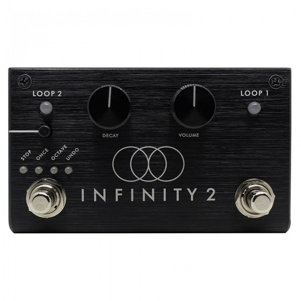 <p><span>Pigtronix Infinity 2 is a stereo looping pedal with two independent loops and a streamlined user interface that has been designed to provide an intuitive musical workflow, right out of the box.</span><br /><br /><span>The Infinity 2 enables musicians to seamlessly switch between parts, even during initial recording or while overdubbing. This Verse / Chorus type of workflow is further expanded by the ability to delete the loop that is not currently playing&mdash;freeing up an open slot for a new loop to be created, without interrupting playback.</span><br /><br /><span>Nearly all actions taken by the Infinity 2 occur at the loop boundary. This allows the musician to cue an overdub, switch between loops or stop precisely at the end of a loop, without having to worry about hitting the footswitch at precisely the correct time. Simply tell the machine what to do and it will occur at the end of the current loop. This is the general rule of thumb for all commands, with a few exceptions such as instant stop and fade out, which take place immediately when activated.</span><br /><br /><span>A small push-button switch, located above the left footswitch, allows the user to change the functionality of this footswitch to perform various Stop, Stutter and Octave Shift effects. A TRS remote jack allows these special features to be triggered by an external switch. Undo / Redo functionality can also be assigned to the left footswitch, allowing the musician to remove previous overdubs and add them back as desired.</span><br /><br /><span>In addition to a dedicated knob for loop Volume, the Infinity 2 also features a Decay knob that causes loop audio to fade out progressively during overdub. With the Decay knob set fully clockwise, the layers pile up at full volume. With the Decay knob set fully counter-clockwise, each overdub lasts for only one loop cycle. With the Decay knob set anywhere in-between those extremes, overdubbing on the Infinity 2 creates constantly evolving loo