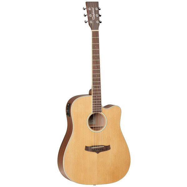"""<p>In stock and ready to ship at MorMusic</p><p>Seen it cheaper elsewhere? We'll aim to match or beat any like for like price!</p><p>Winterleaf is an exciting new series from the Tanglewood design team. Created to meet the demands of the modern player, every Winterleaf guitar offers outstanding value with the highest standards of build quality and component features as standard. A closer look at the various model specifications will find some outstanding brands like B-Band Electronics, Grover machine heads and Tusq graphite saddles all partnering with the Winterleaf project concept team to deliver excellence throughout every price point and model.</p> <ul> <li><span>SHAPE:</span>&nbsp;Dreadnought&nbsp;Cutaway</li> <li><span>TOP:</span>&nbsp;Solid&nbsp;Cedar</li> <li><span>BACK:</span>&nbsp;Mahogany</li> <li><span>SIDES:</span>&nbsp;Mahogany</li> <li><span>NECK (MATERIAL):</span>&nbsp;Mahogany</li> <li><span>FINGERBOARD:</span>&nbsp;Techwood</li> <li><span>BRIDGE:</span>&nbsp;Techwood</li> <li><span>BINDING:</span>&nbsp;ABS Ivory</li> <li><span>SADDLE:</span>&nbsp;PPS, Compensating</li> <li><span>NUT (WIDTH):</span>&nbsp;PPS&nbsp;(43mm)</li> <li><span>SCALE LENGTH:</span>&nbsp;650mm</li> <li><span>MACHINE HEADS:</span>&nbsp;Small Chrome Die Cast</li> <li><span>FINISH:</span>&nbsp;Natural&nbsp;Satin</li> <li><span>EQ:</span>&nbsp;<a href=""""http://www.tanglewoodguitars.co.uk/product/b-band-m450t/"""">B-Band M450-T</a></li> <li><span>STRINGS:</span>&nbsp;D&rsquo;Addario EXP11</li> <li><span>SKU:</span>&nbsp;TW10E</li> <li><span>RANGE:</span>&nbsp;Winterleaf</li> <li><span>UPC:</span>&nbsp;810944019163</li> </ul> <p><span>Dimensions:</span></p> <ul> <li>UPPER BOUT WIDTH: 295mm</li> <li>LOWER BOUT WIDTH: 398mm</li> <li>WAIST WIDTH: 278mm</li> <li>BODY DEPTH (TOP): 100mm</li> <li>BODY DEPTH (BOTTOM): 115mm</li> <li>BODY LENGTH: 505mm</li> <li>TOTAL LENGTH: 1038mm</li> </ul>"""