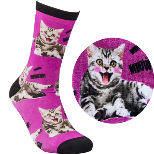 Bamboo Socks - Kitty Purple