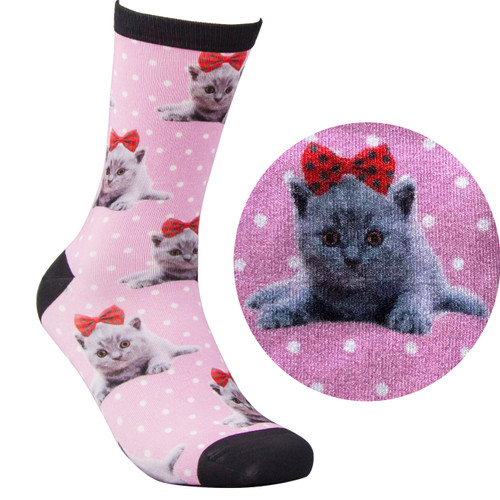 Bamboo Socks - Kitty Pink