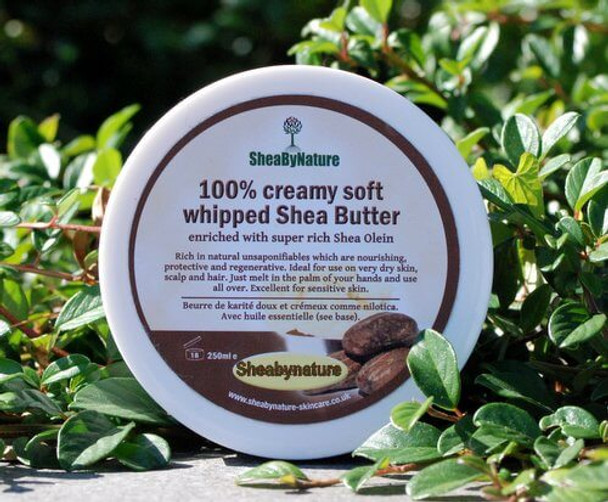 100% Creamy Soft whipped Unrefined Supreme Shea Butter Enriched with Shea Olein 250g. Soft and creamy, Rich in Natural Vitamins.