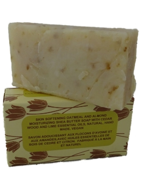 6 bars of Skin Softening Oatmeal and Almond Shea Butter Soap  with Coconut and Olive Oil. Handmade Natural Soap with Cedarwood & Lime Essential Oils (115-135g each)