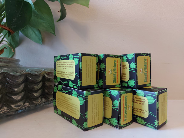 6 Bars of shea butter black clay soap.