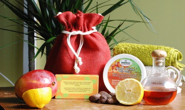 Gift set of Mango and Lime Body Butter with Unrefined Shea butter(250ml), and Mango and Lime Shea Butter Soap, Hand-made soap(115-135g), all in a natural Jute Bag.