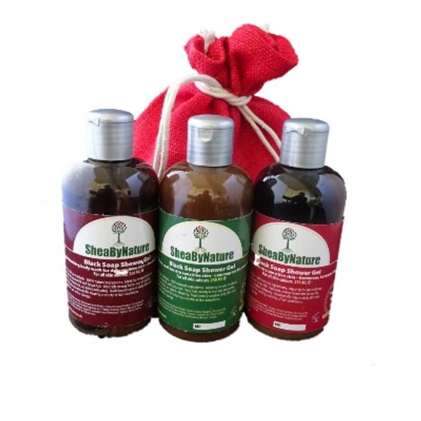 SheaByNature Natural Body wash African Black soap gift set with 250ml Coconut Vanilla, 250ml lemongrass Lemon and 250ml geranium Lavender YlangYlang Black soap, Rich in Shea butter, Coconut oil