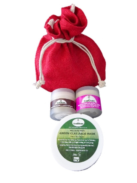 SheaByNature Face Care Natural product gift set with Green Clay mask, Rose rehydration Nourishing day and night Cream and Vitamin E Shea butter face cream with daylight protection.