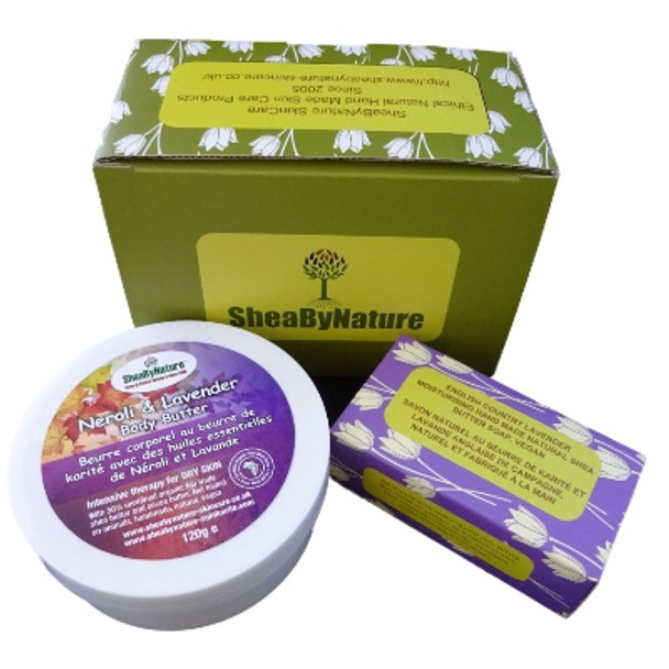 SheaBynature Neroli and Lavender body butter gift set with 250ml Shea body butter and 135g country lavender natural soap. In a gift box