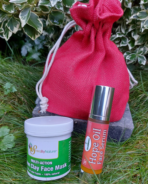 A beautiful gift set of Green Clay Face Mask and Hope oil serum - Ideal face care treat.