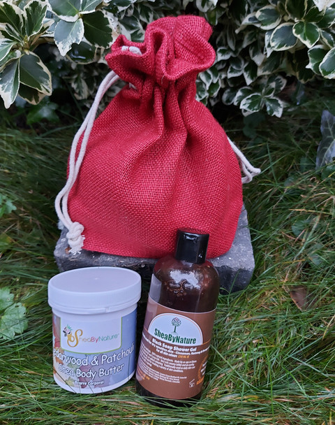 Cedarwood & Patchouli Shea body butter with Liquid African black soap infused with Cinnamon, nutmeg and Orange in a jute bag