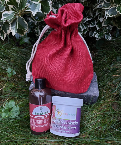 A gift set of neroli lavender shea body butter and African black soap with geranium, Ylang ylang and Lavender, comes in a jute bag