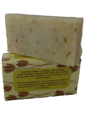 Skin Softening Oatmeal and Almond Shea Butter Soap with Coconut and Olive  Oil  Handmade Natural Soap with Cedarwood & Lime Essential Oils (115-135g)