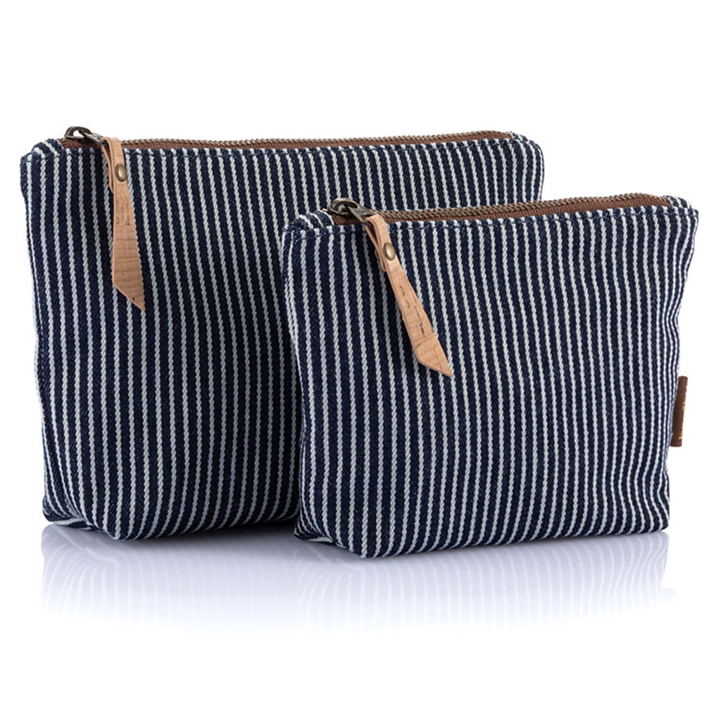 Organic Cotton Stripe Travel Zip Pouches