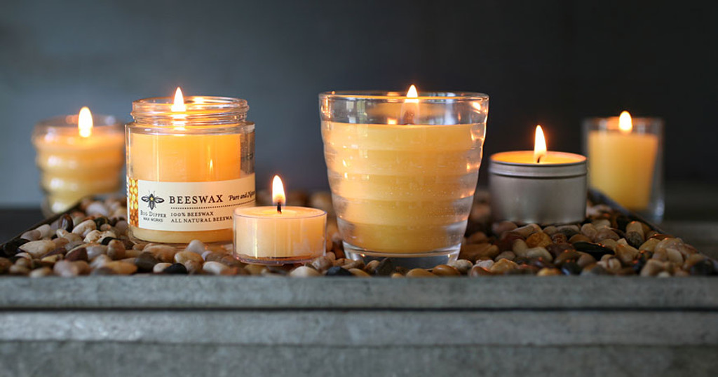 Pure Beeswax Candle in Beehive Glass