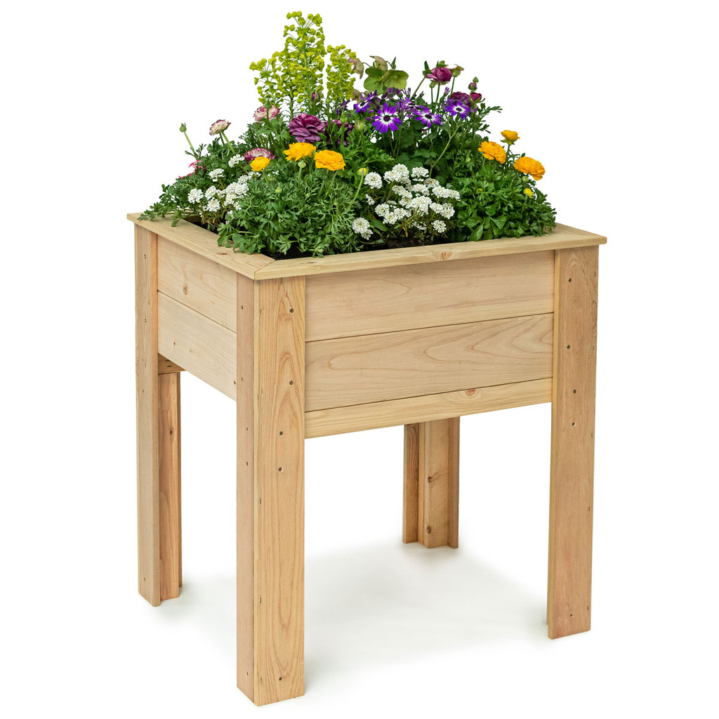 Natural Cedar Elevated Garden Planter
