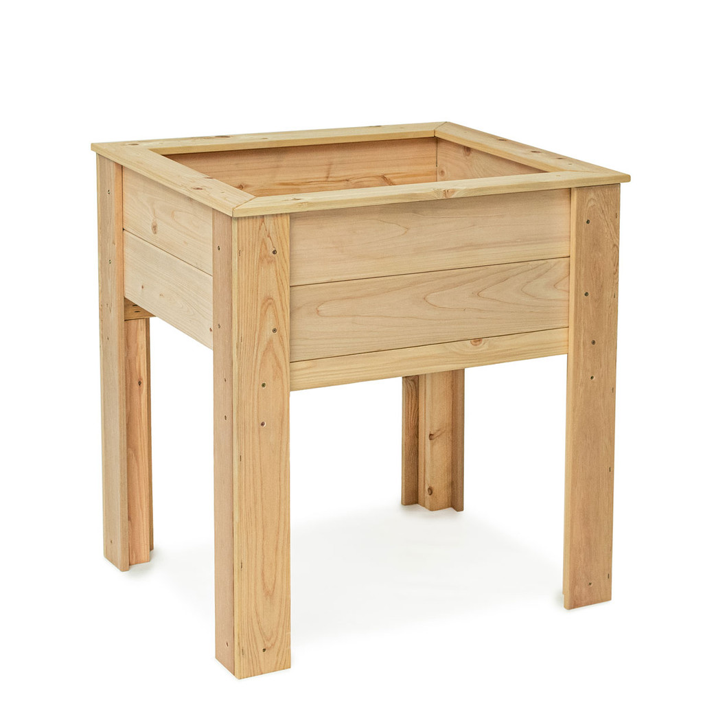 """Natural Cedar Elevated Planter (Size pictured: 26""""W x 32""""L x 34""""H 11""""D)"""