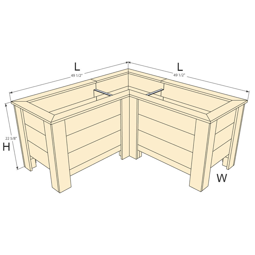 "Natural Cedar L-Shaped Planter Box - 20"" W x 48"" L x 48"" L x 22.5"" H"
