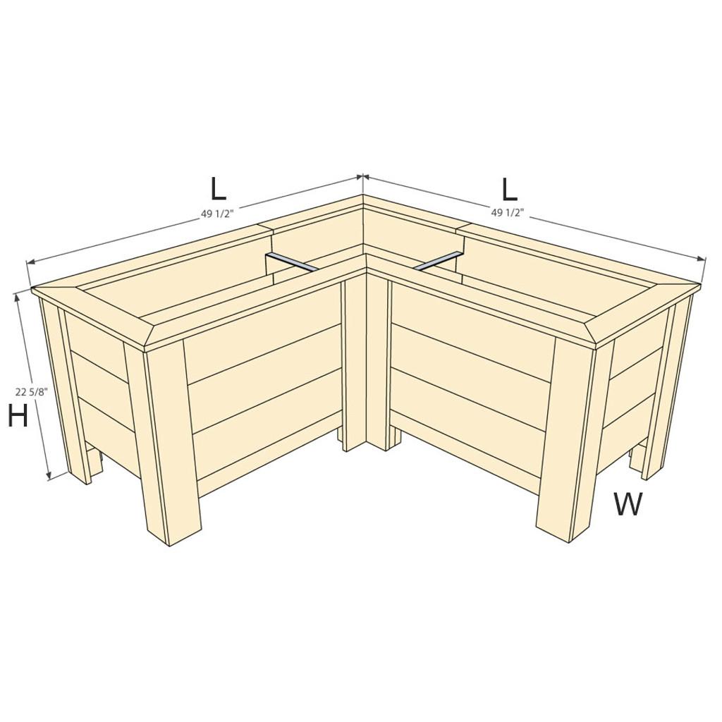"""Natural Cedar L-Shaped Planter Box - 20"""" W x 48"""" L x 48"""" L x 22.5"""" H"""