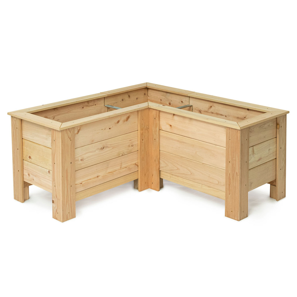 Natural Cedar L-Shaped Planter Boxes