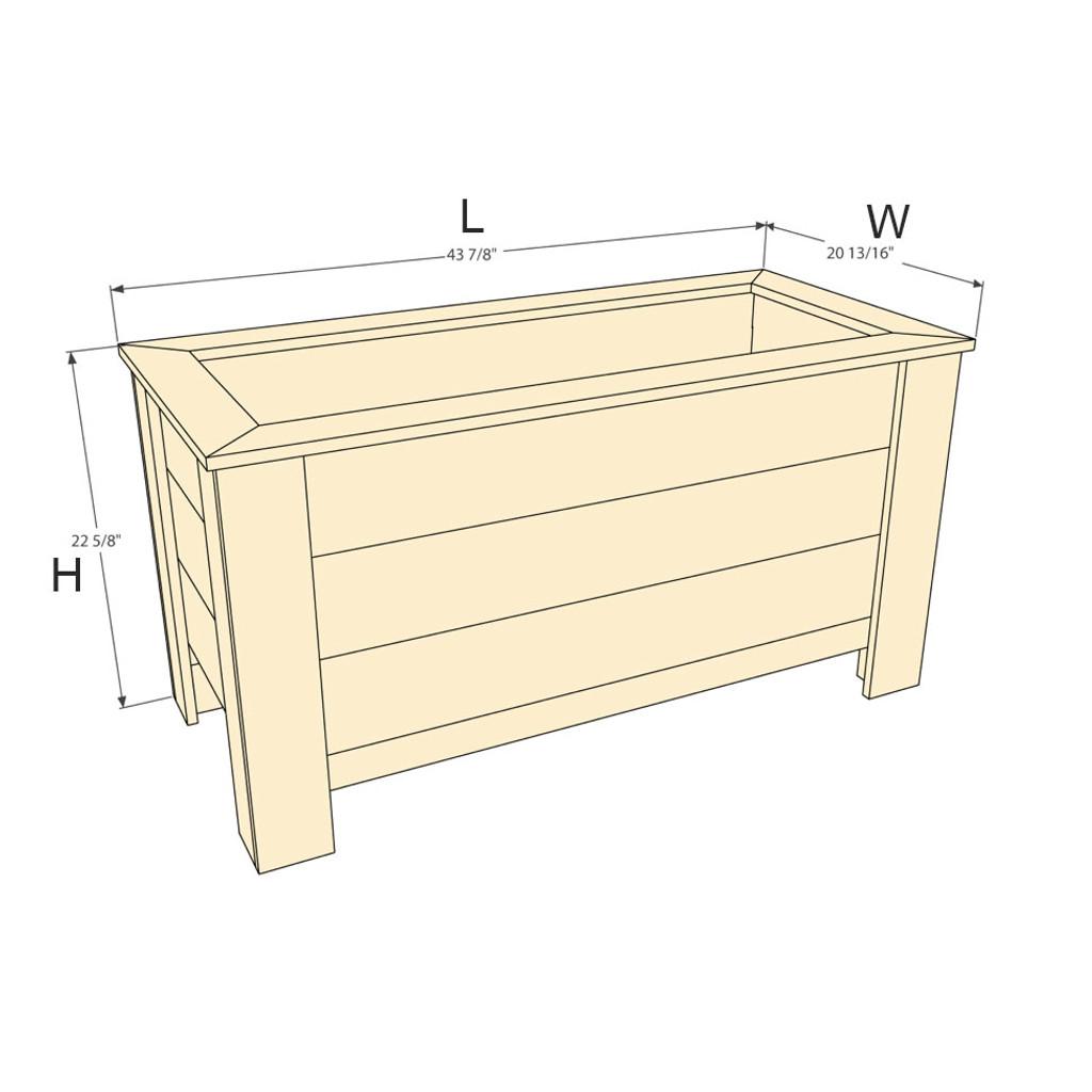 "Natural Cedar Rectangle Planter Box - 20""W x 44""L x 22.5""H"