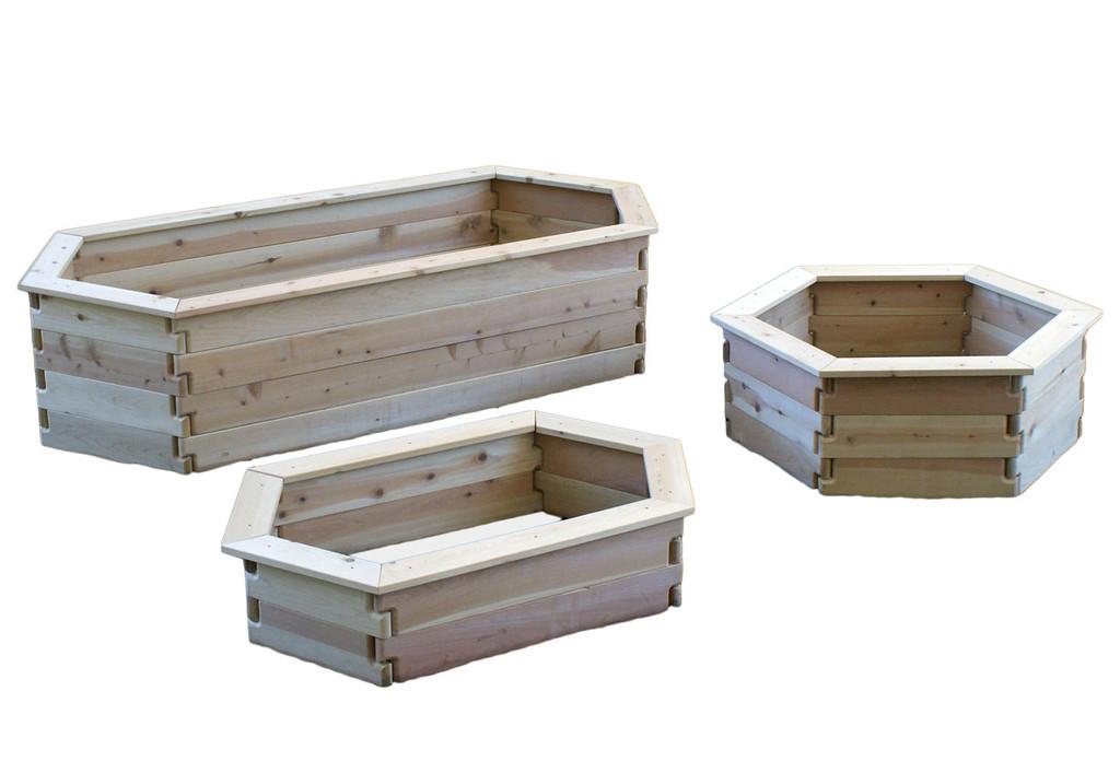 Natural Cedar Hexagon Raised Garden Beds with Trim option