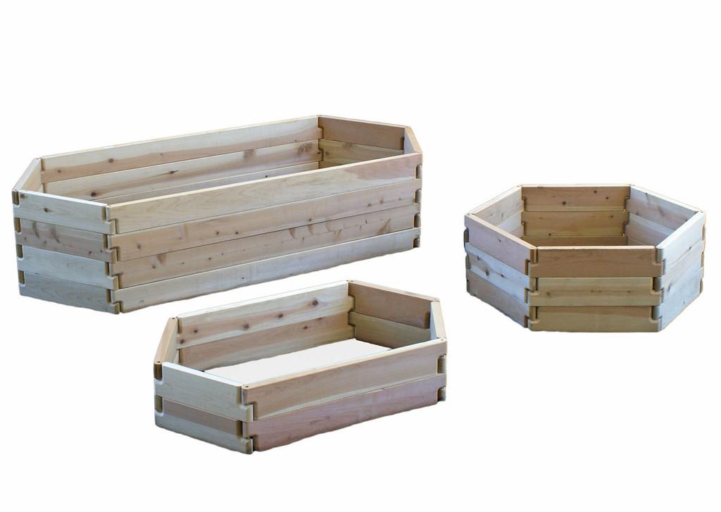 Natural Cedar Hexagon Raised Garden Beds