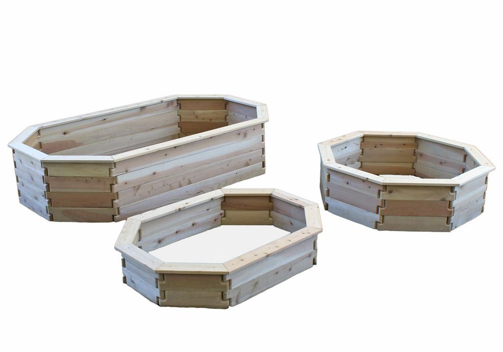 Natural Cedar Octagon Raised Garden Beds with Trim option