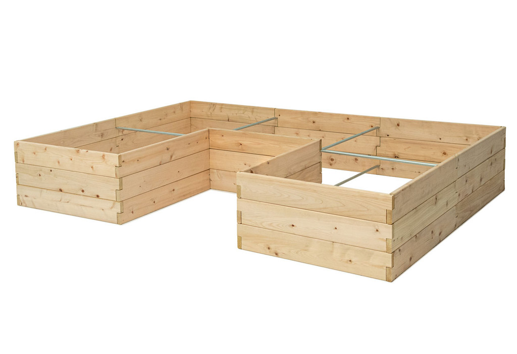 Natural Cedar U-Shaped Raised Garden Bed without Trim Pack