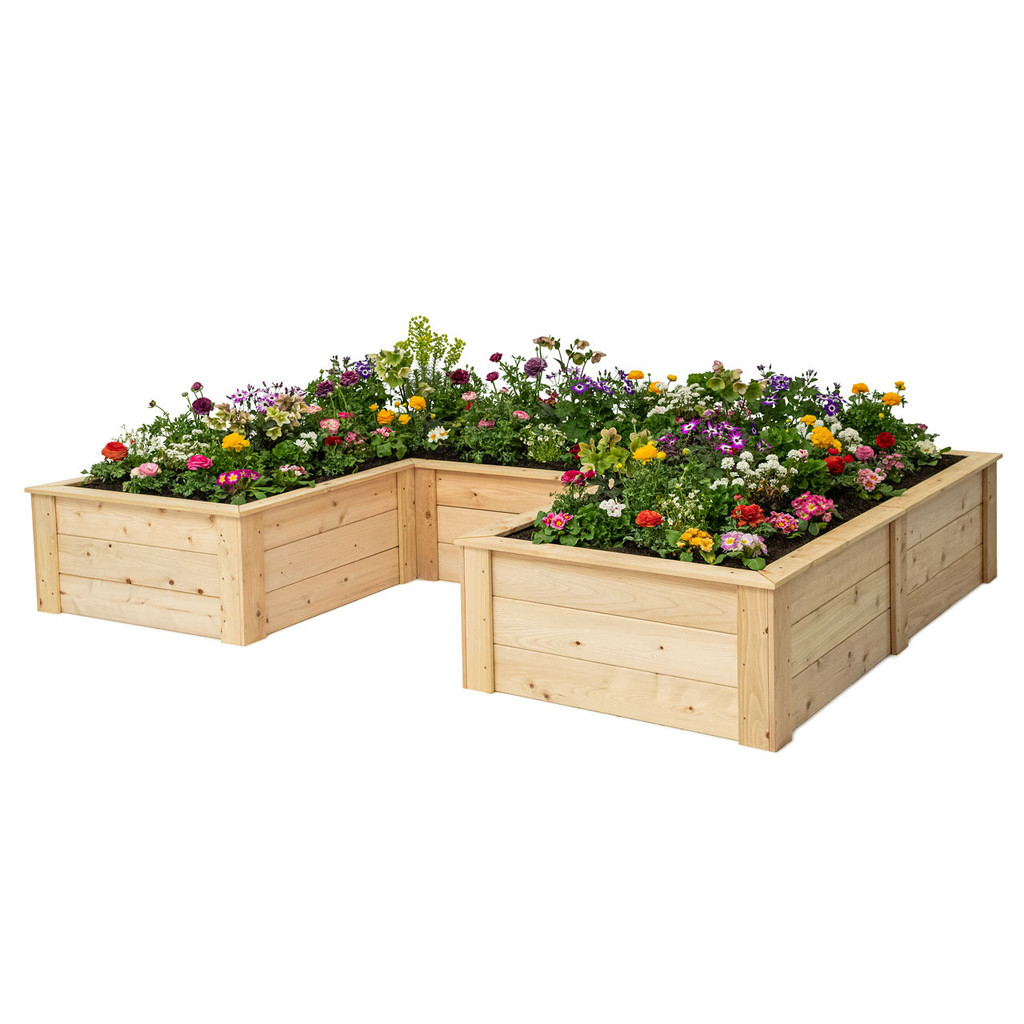 Natural Cedar U-Shaped Raised Garden Bed with Trim Pack