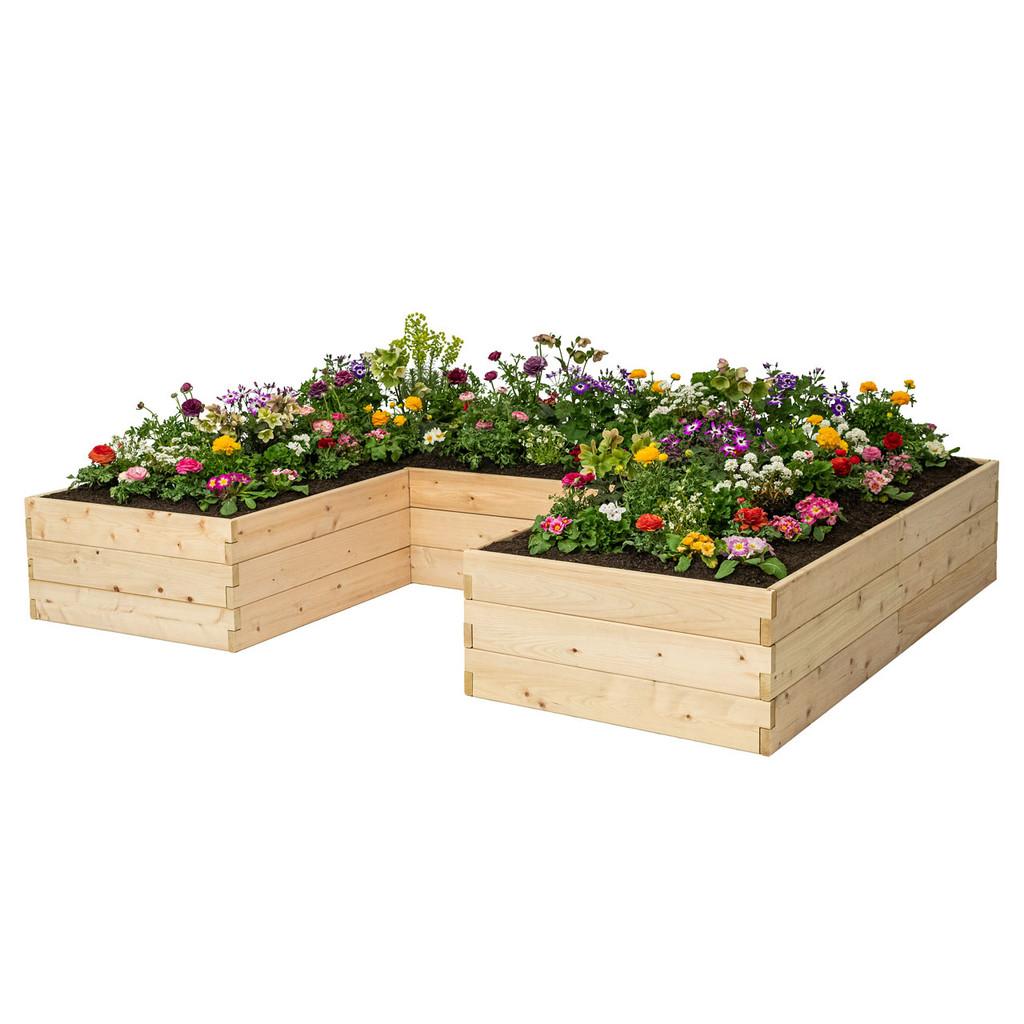 Natural Cedar U-Shaped Raised Garden Beds