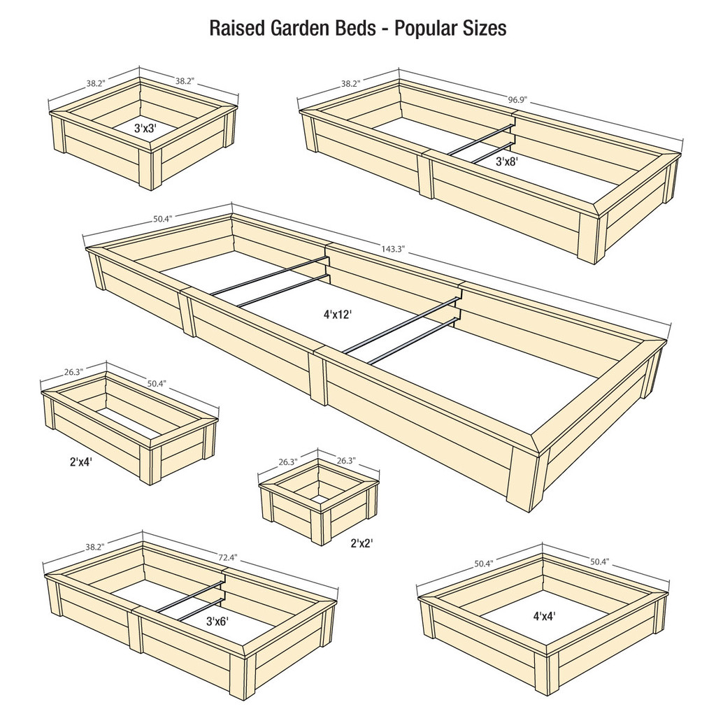 Raised Garden Beds shown with optional Trim Packs