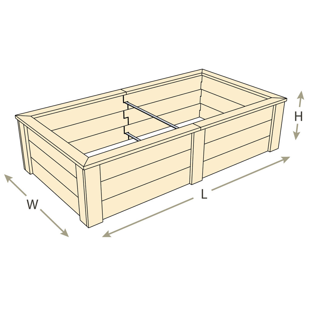 Natural Cedar Raised Bed with Trim Pack