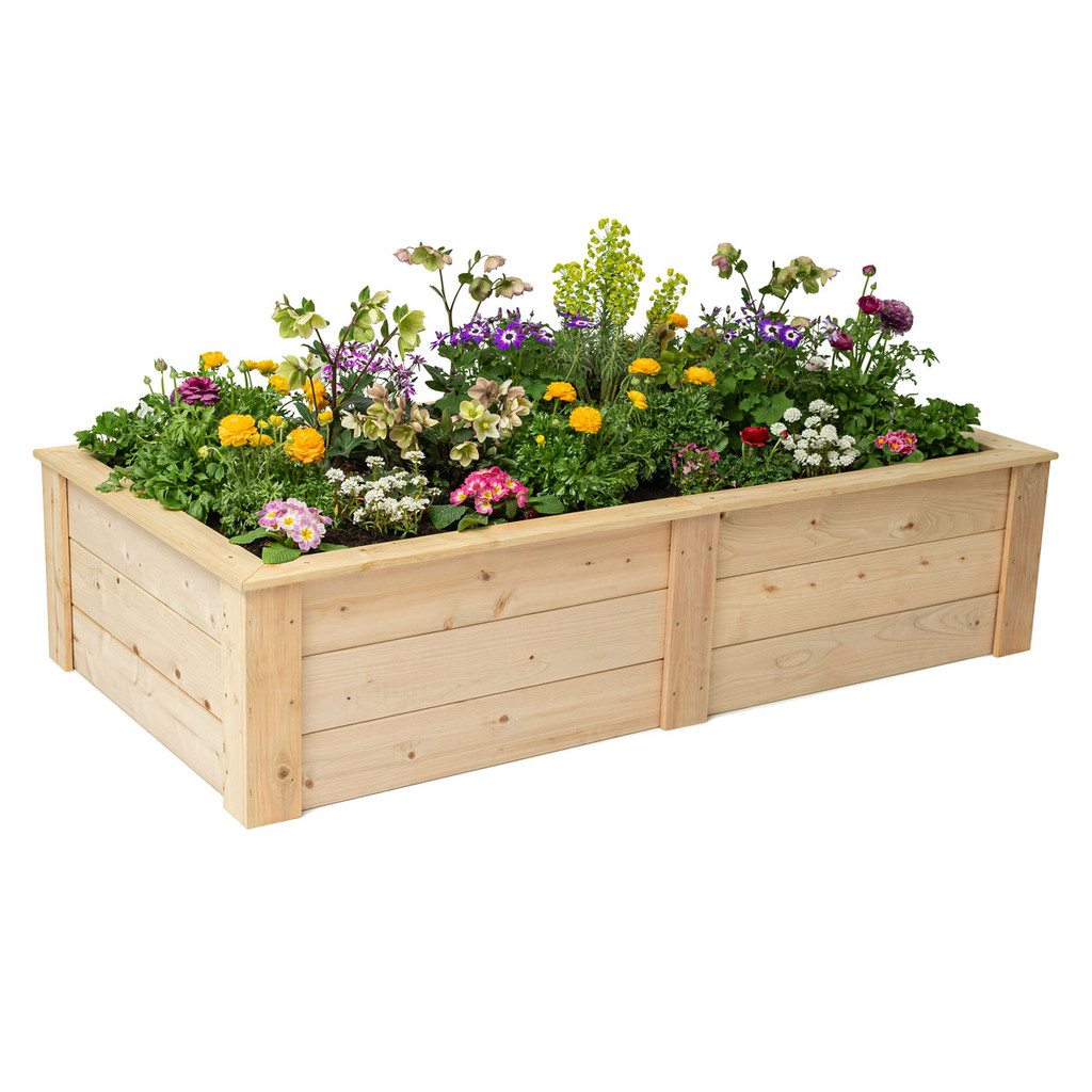 Rectangle Raised Garden Bed With Trim Pack