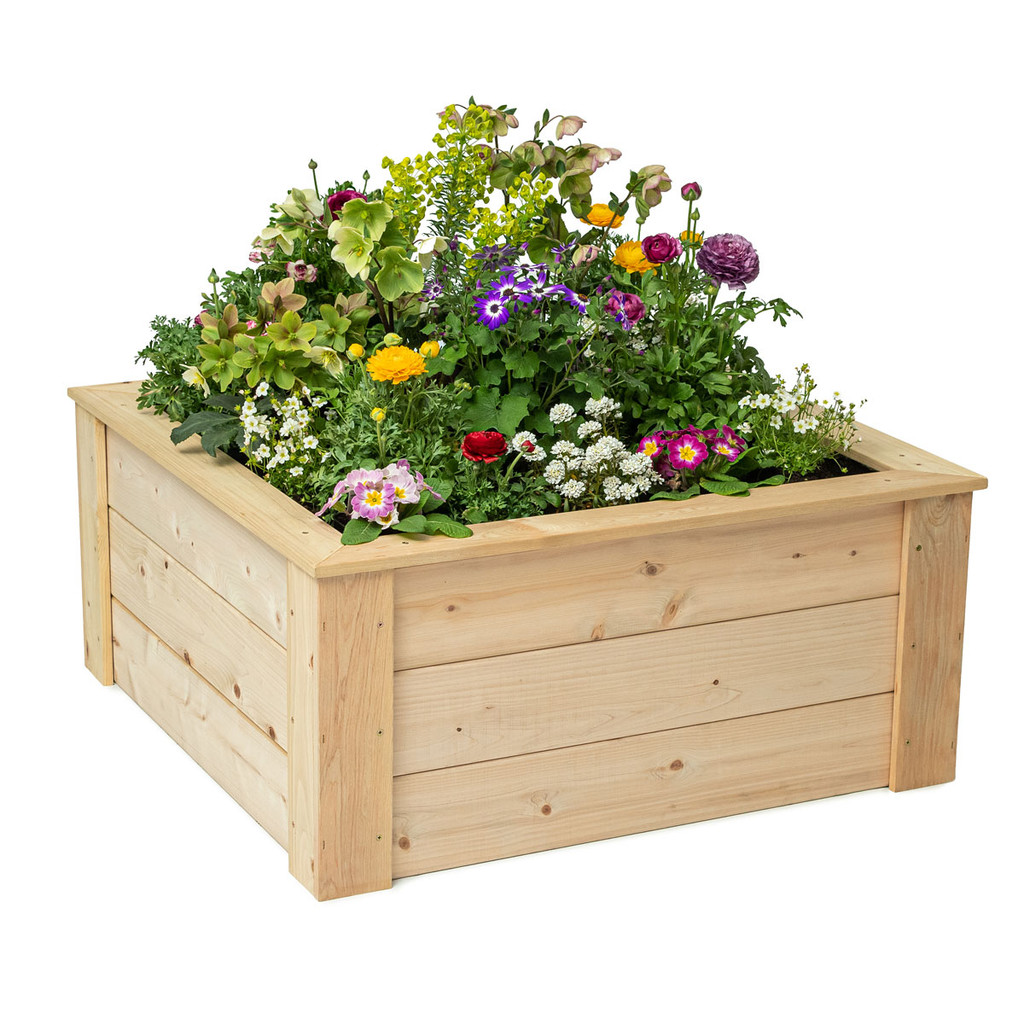 Square Raised Garden Bed With Trim Pack