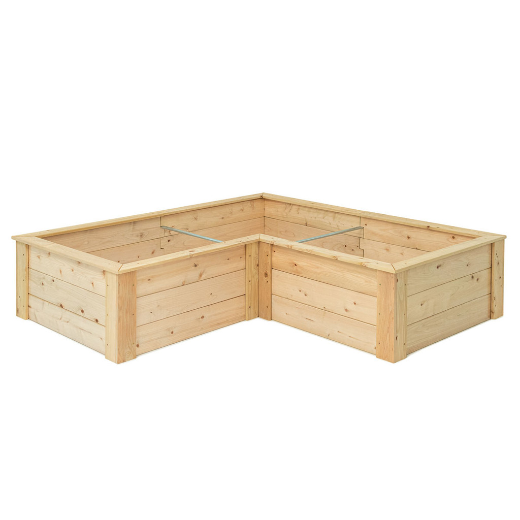 Natural Cedar L-Shaped Raised Garden Bed with Trim Pack