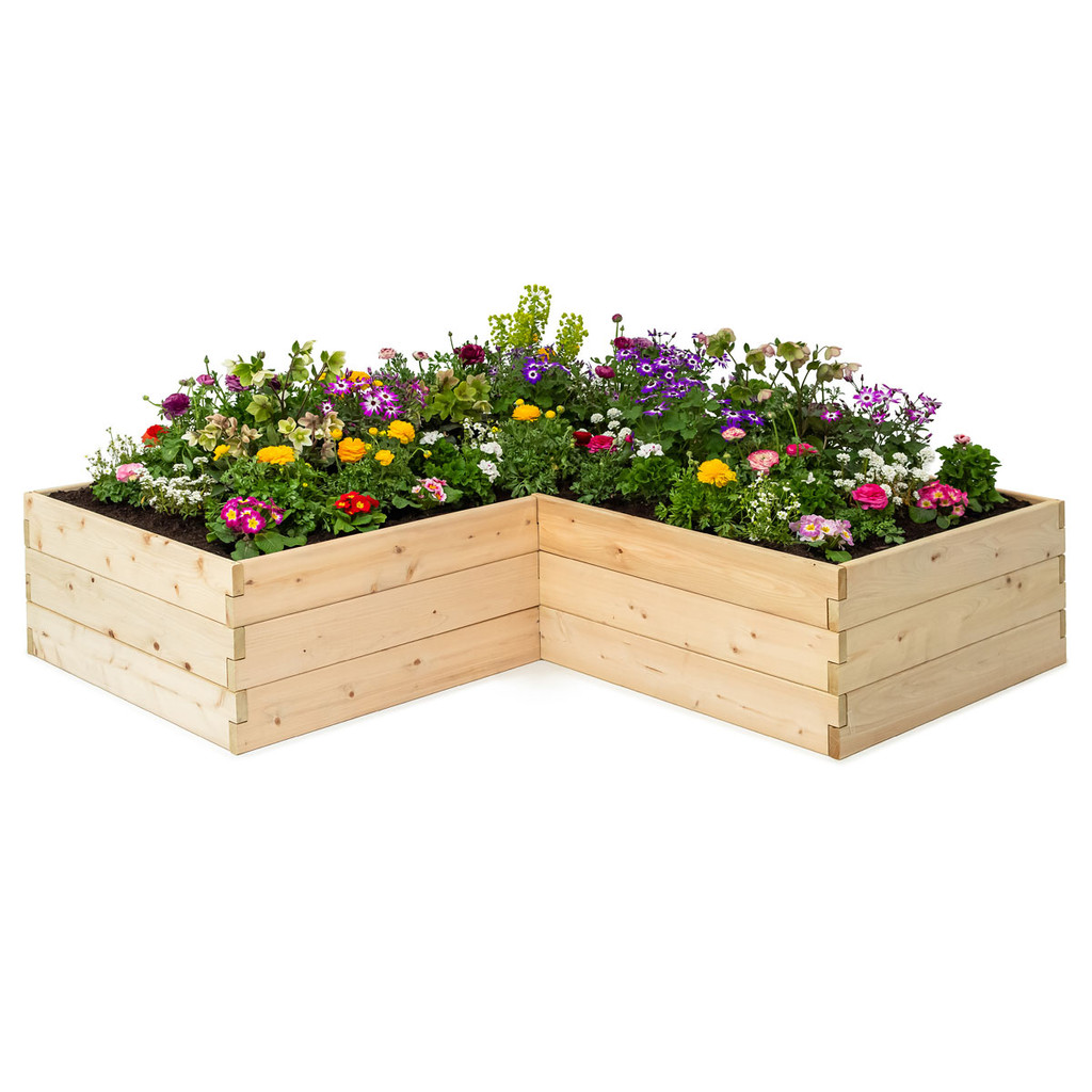 Natural Cedar L-Shaped Raised Garden Beds