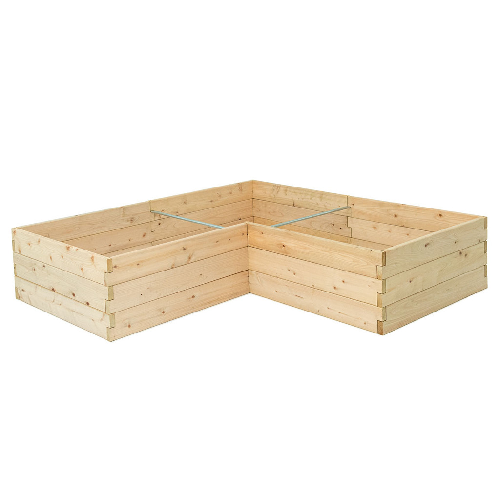 Natural Cedar L-Shaped Raised Garden Bed without Trim Pack