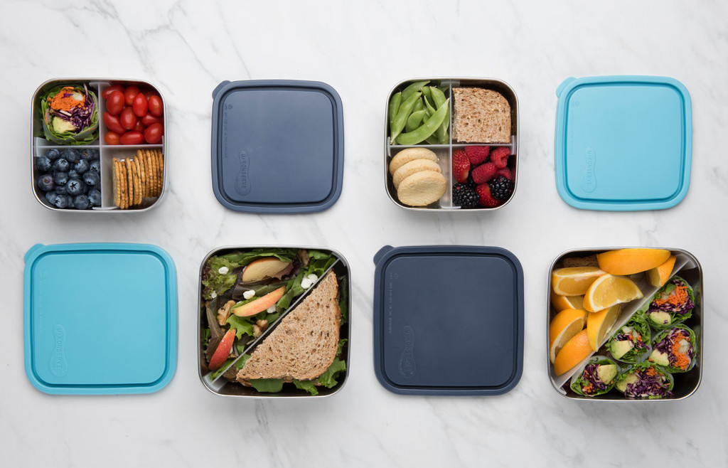 Medium (top row) and Large (bottom) Divided To-Go Containers