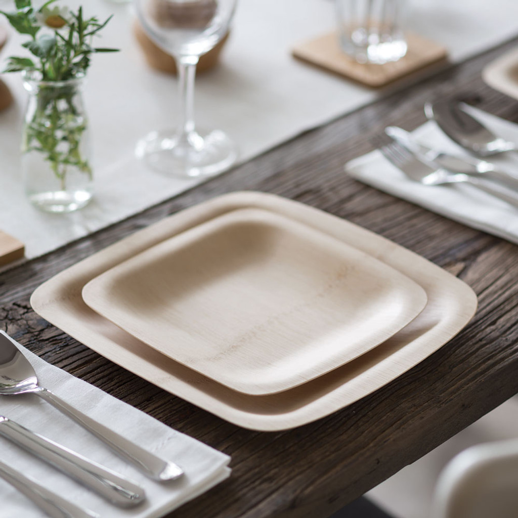 Biodegradable Bamboo Square Plates - Set of 8