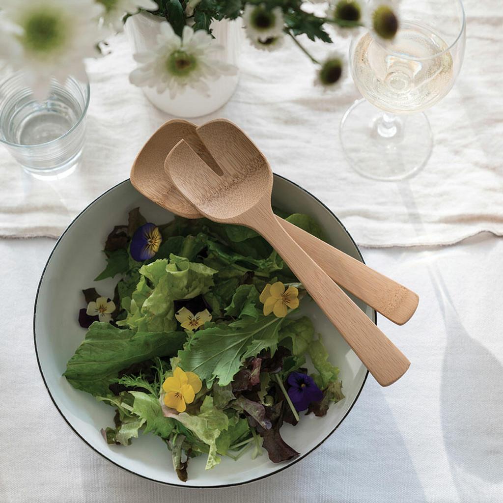 Natural Bamboo Short Salad Servers