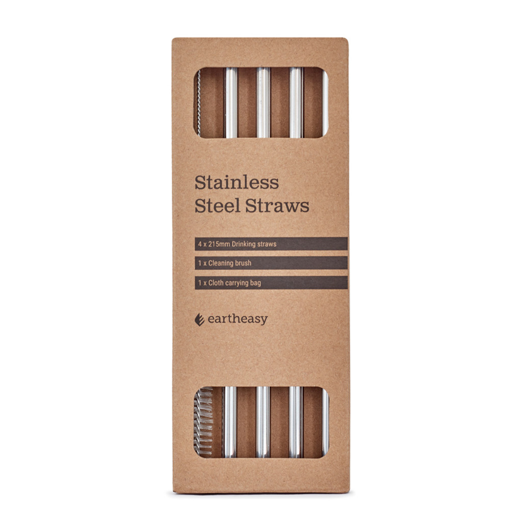 Straight stainless steel straws (4-pack) with cloth carrying bag and cleaning brush.