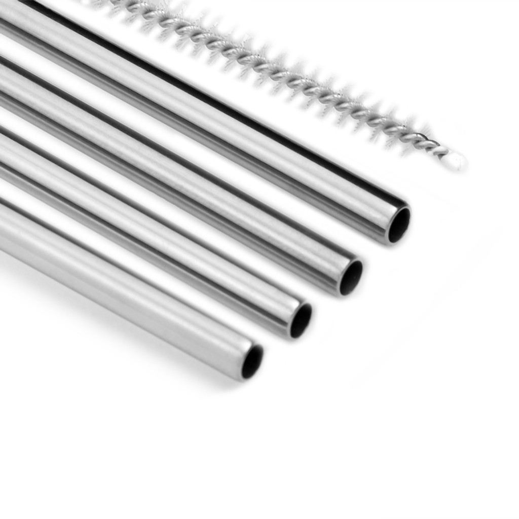 Straight Stainless Steel Straws 4-Pack