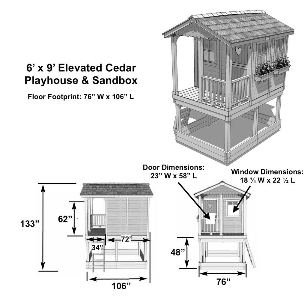 6' x 9' Elevated Cedar Playhouse & Sandbox