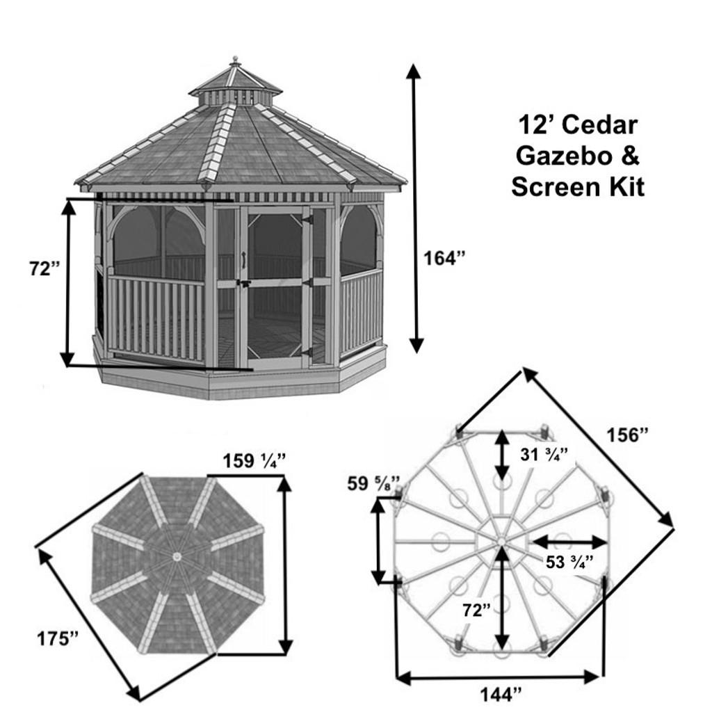 12' Cedar Panelized Octagon Gazebo