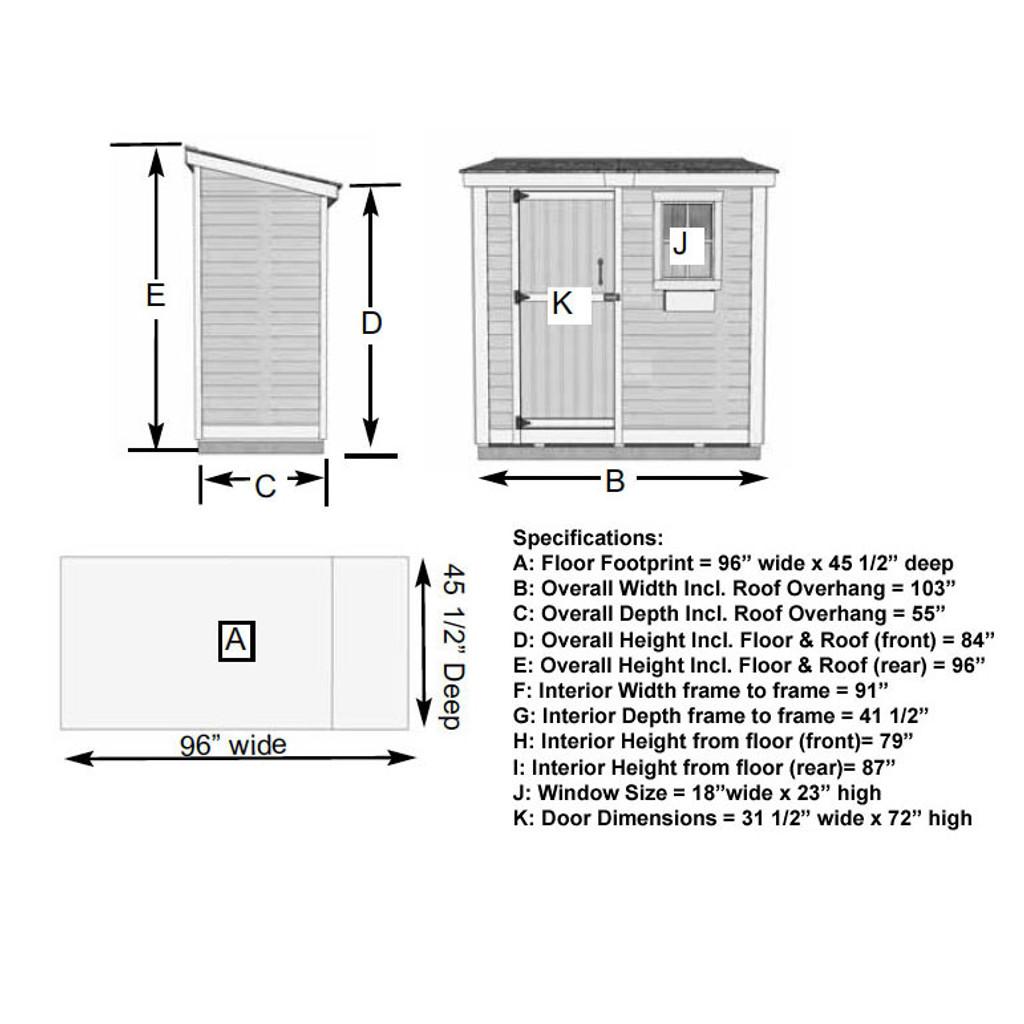 8' x 4' SpaceSaver Storage Shed - Single Door